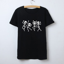 Skeleton Halloween T Shirt Women Skull Punk Rock Graphic Tee Shirt Female Cool Tshirt