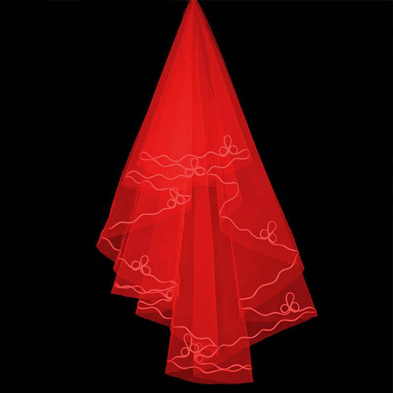 150 センチメートルウェディングベール赤白ショートブライダルベールウェディング & イベントブライダルヘアヘッドバンドギフト女性二層レースエッジ vei