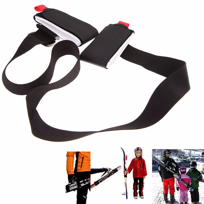 Adjustable Black Ski Carrier Shoulder Sleigh Strap Shoulder Handle Dual Carrier Tying Skis Sling Braces Shoulder Carrier