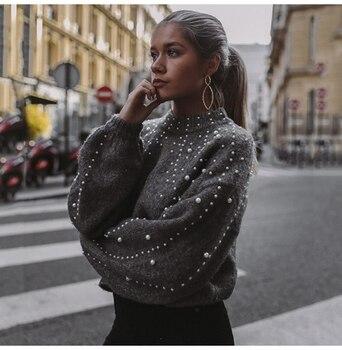 Κασμιρένιο πουλόβερ με φουσκωτά μανίκια διακοσμημένο με πέρλες Γυναικείες Μπλούζες Ρούχα MSOW