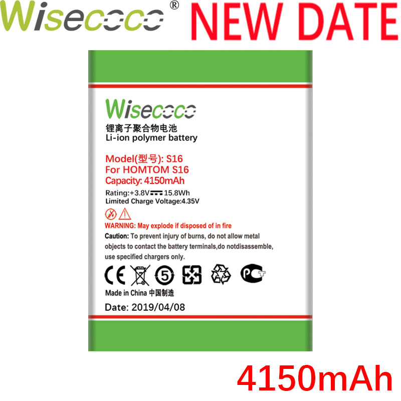 Wisecoco S16 4150mAh New Production Battery For HOMTOM S16 S 16 Cell Phone High quality Battery Replacement+Tracking Number(China)