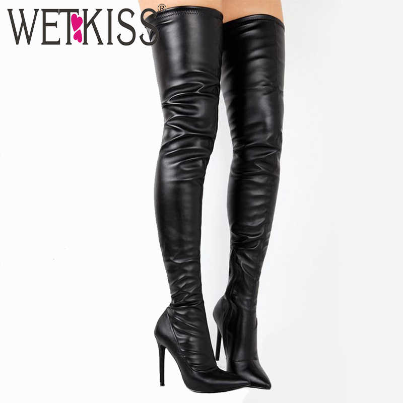 WETKISS Sexy Thin High Heels Women Boots Over The Knee Boot Pointed Toe Female Shoes Winter Warm Footwear Super Big Size 33-48