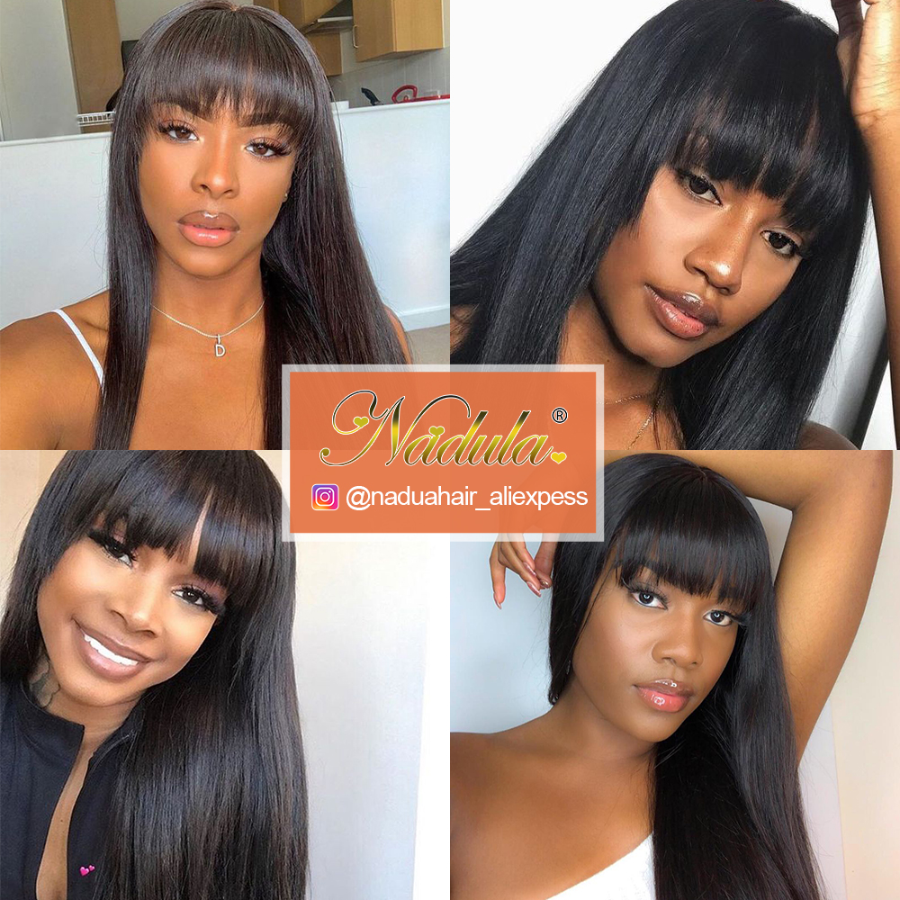 Nadula Hair Natural Machine Made Wig Straight Long Wig With Bangs  Wigs With Bangs  6