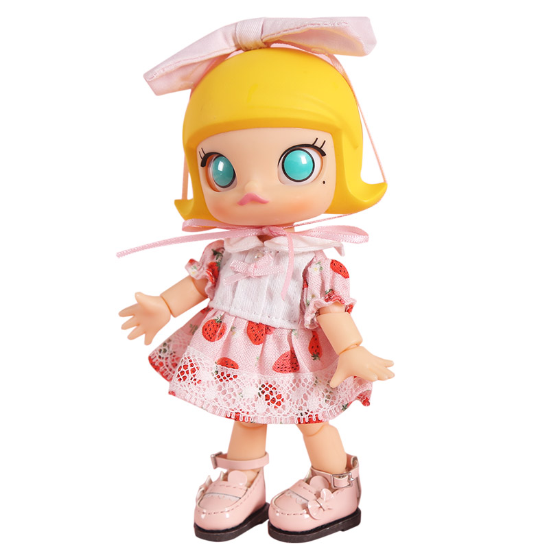 OB11 <font><b>Doll</b></font> Clothes Strawberry and Cherry Print <font><b>Dress</b></font>, Skirt for OB11, Obitsu 11, Molly, GSC, <font><b>1/8</b></font> <font><b>BJD</b></font> <font><b>Doll</b></font> Clothing Accessories image