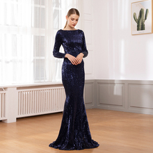 2019 NEW Navy Blue Long Sleeve Stretchy Sequined Maxi Dress Floor Length O Neck Full Lining Back Zipper Party Long Party Dress недорого
