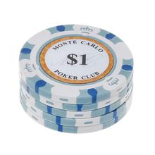 5pcs Poker Chips Clay Casino Coins 14g Texas Hold'em Baccarat Card Protector 4cm