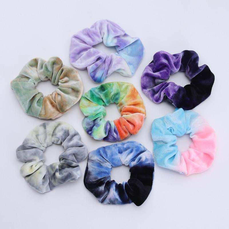 2Piece New Velvet Tie-dye Women Hair Scrunchy Soft Elastic Hair Bands Girls Ponytail Hair Holder Hair Tie Hair Accessories Gift
