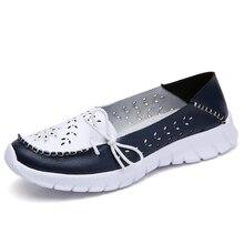 Boat Shoes Moccasins Ballerina-Flats Slip-On Genuine-Leather Women Fashion