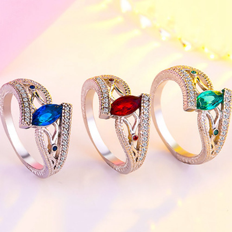 Ladies Finger Rings For Women Vintage Engagment Blue/Red/Green Women Jewelry