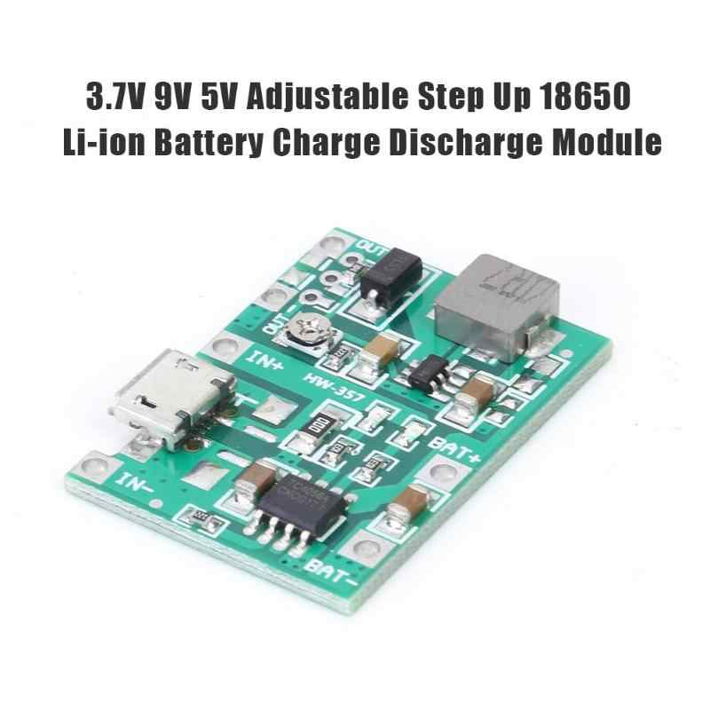 HW-357 3.7 v 9 v 5 v ajustável pcb step up 18650 li-ion bateria carga de descarga power bank carregador módulo diy 18650 bateria