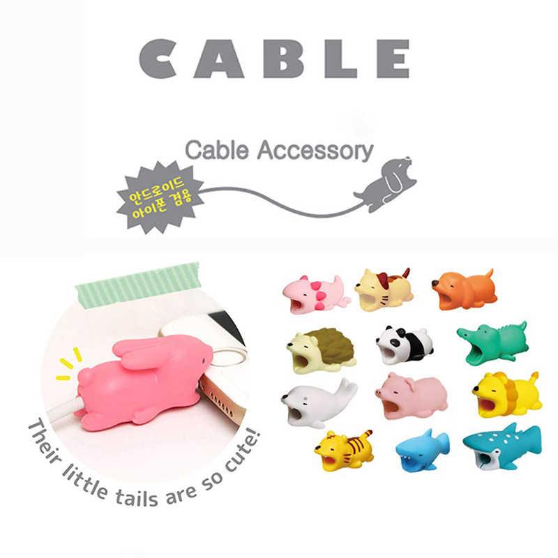 1Pcs Lucu Kabel Gigitan Hewan Pelindung untuk Android Iphone Pengisian Tali Kabel Teman Kartun Kabel Matrix Telepon Pemegang Aksesori