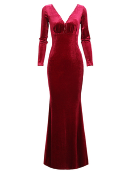 Velour Evening Dress Long Sleeve V-neck Prom Mermaid Gown Velvet Dresses Woman Party Night Robe De Soiree Built In Bra Dress