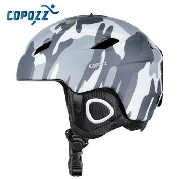 Copozz 2020 luz capacete de esqui com certificado de segurança integralmente moldado capacete de snowboard ciclismo esqui neve dos homens das mulheres criança crianças 1