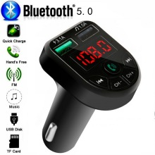 Carro mp3 sem fio bluetooth 5.0 transmissor hands-call mp3 música estéreo adaptador dupla porta usb para samsung
