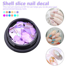 1Box 3D Shiny Abalone Pearl Shell Slice Flake Nail Art Stones Spangles Tips Manicure Accessories Nail Decorations(China)