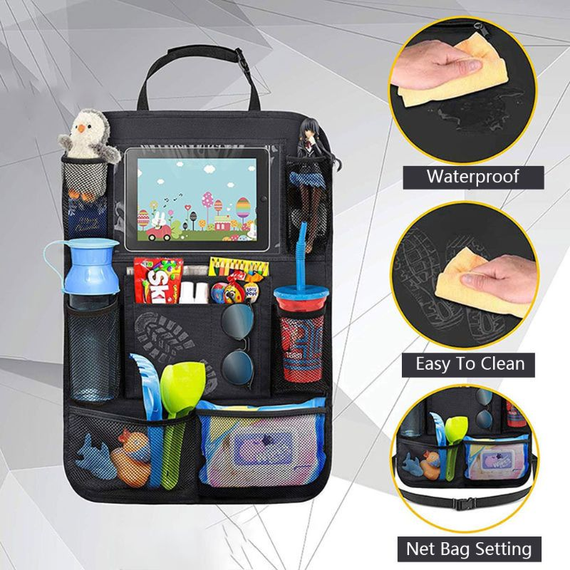 Waterproof Vehicle Storage Sundries Bag Car Seat Back Protector Cover for Children Baby Kick Mat Protect Bag #905