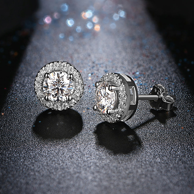 EF Round Cut Total 0.5ct Diamond Test Passed Moissanite Rhodium Plated 925 Silver Moissanite Earrings Jewelry Girlfriend Gift 8
