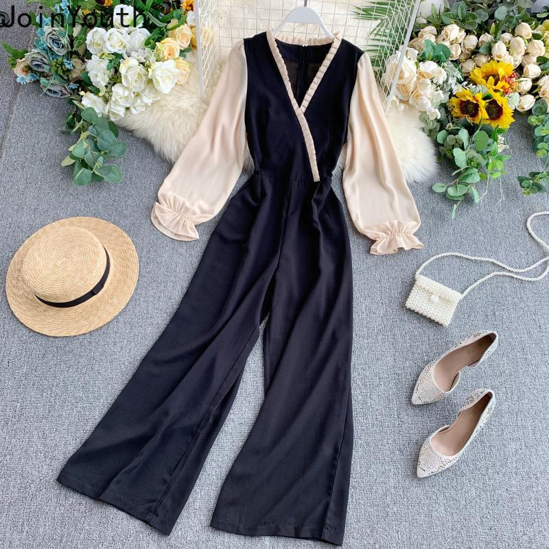 Joinyouth 2020 Spring Hit Color Patchwork Jumpsuits Long Sleeve V-neck Women Rompers Slim High Waist Korean Bodysuits 58744