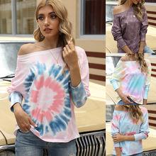 Fashion summer autumn gradient tie dye female loose long sleeve