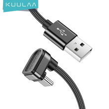 KUULAA USB Type C Cable 180 Degree Fast Charger Cable for Xiaomi Mi 10 9 8 10T POCO x3 Samsung S10 Mobile Phone USB-C Nylon Cord