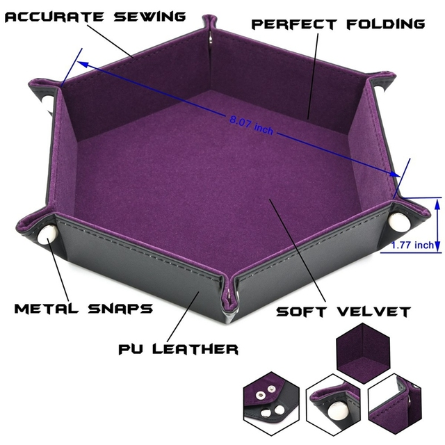Dice Pu Leather Folding Hexagon Tray W/Purple Velvet For Rpg,Dnd,Other Dice Games And Storage
