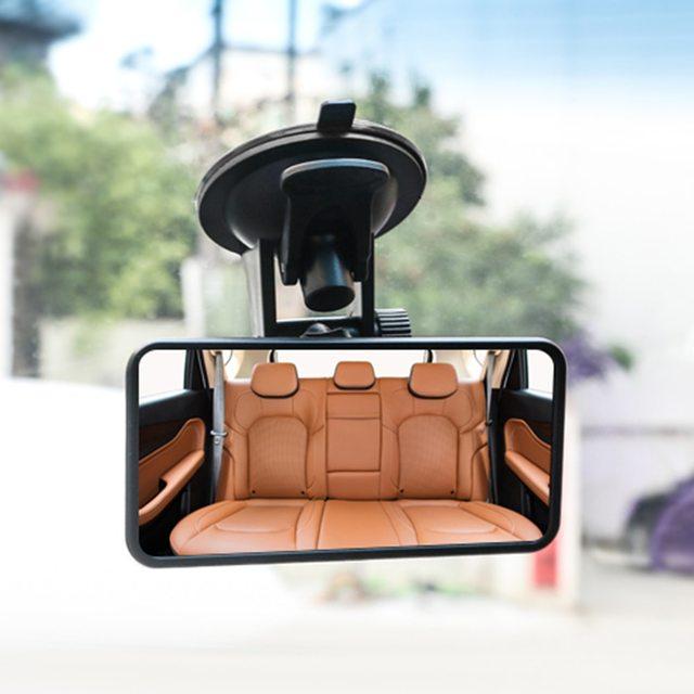 Car Interior Rear View Mirror Suction Cup Wide Angle Interior Rearview Mirror Large Vision Flat Mirror Car Accessories