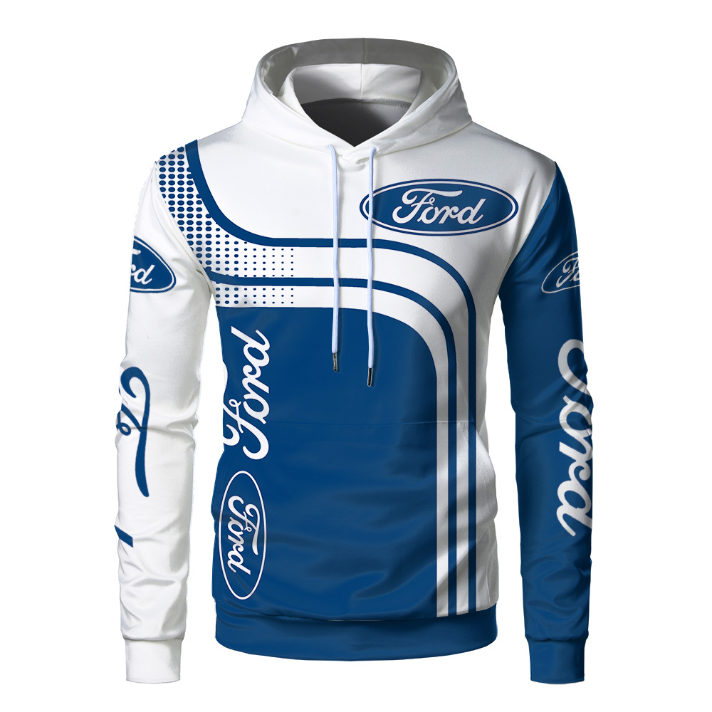 Car Logo Printed 3 D Ford Hoodie For Men Pullover
