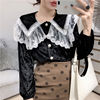 Temperament For Women 2020 Autumn Winter Lace Velvet Stitching Doll Collar Loose Shirt & Blouse Female Long-sleeved Button Tops 3
