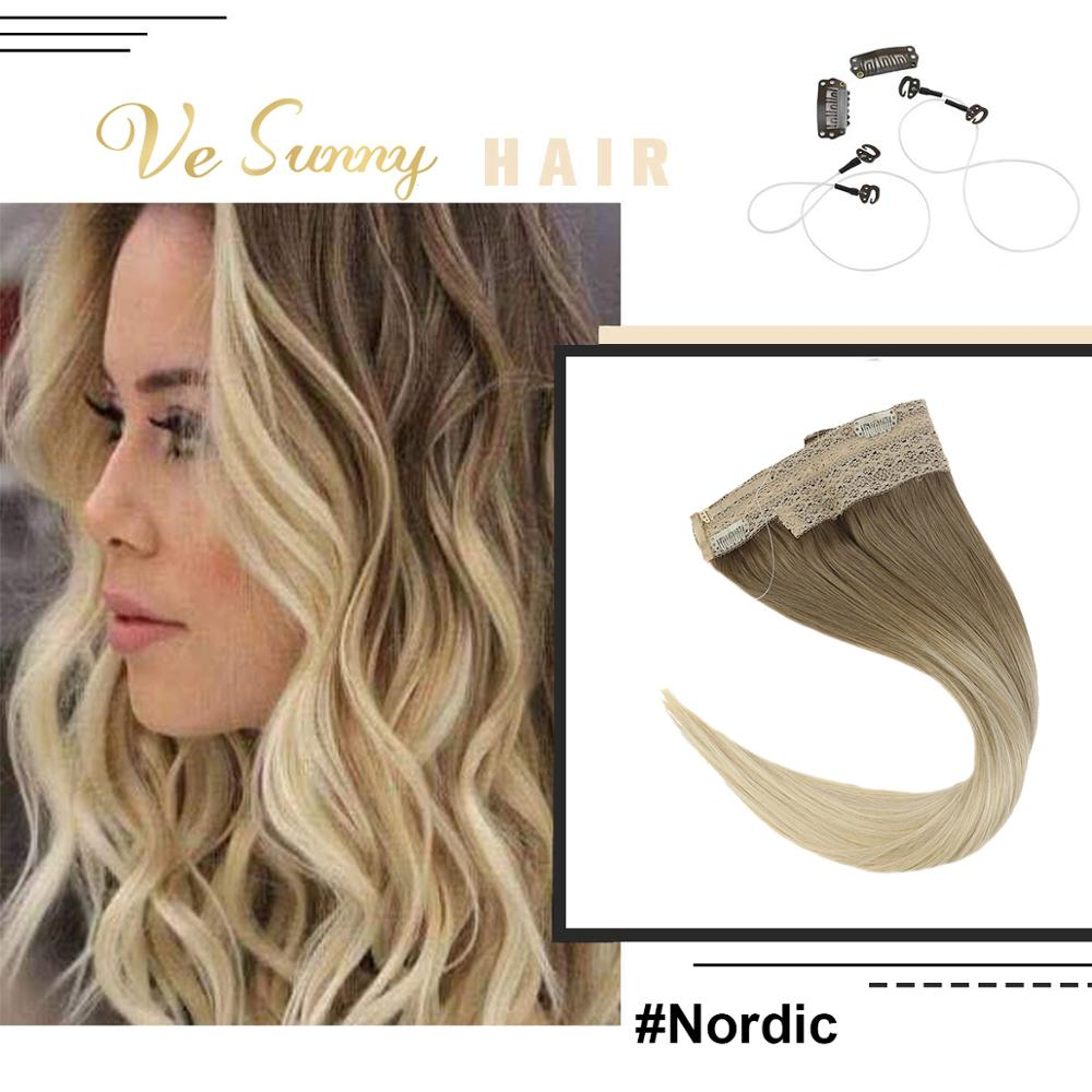 VeSunny One Piece Invisible Halo Hair Extensions Real Human Hair Flip Wire with 2 Clips Balayage Light Brown mix Blonde #14/60