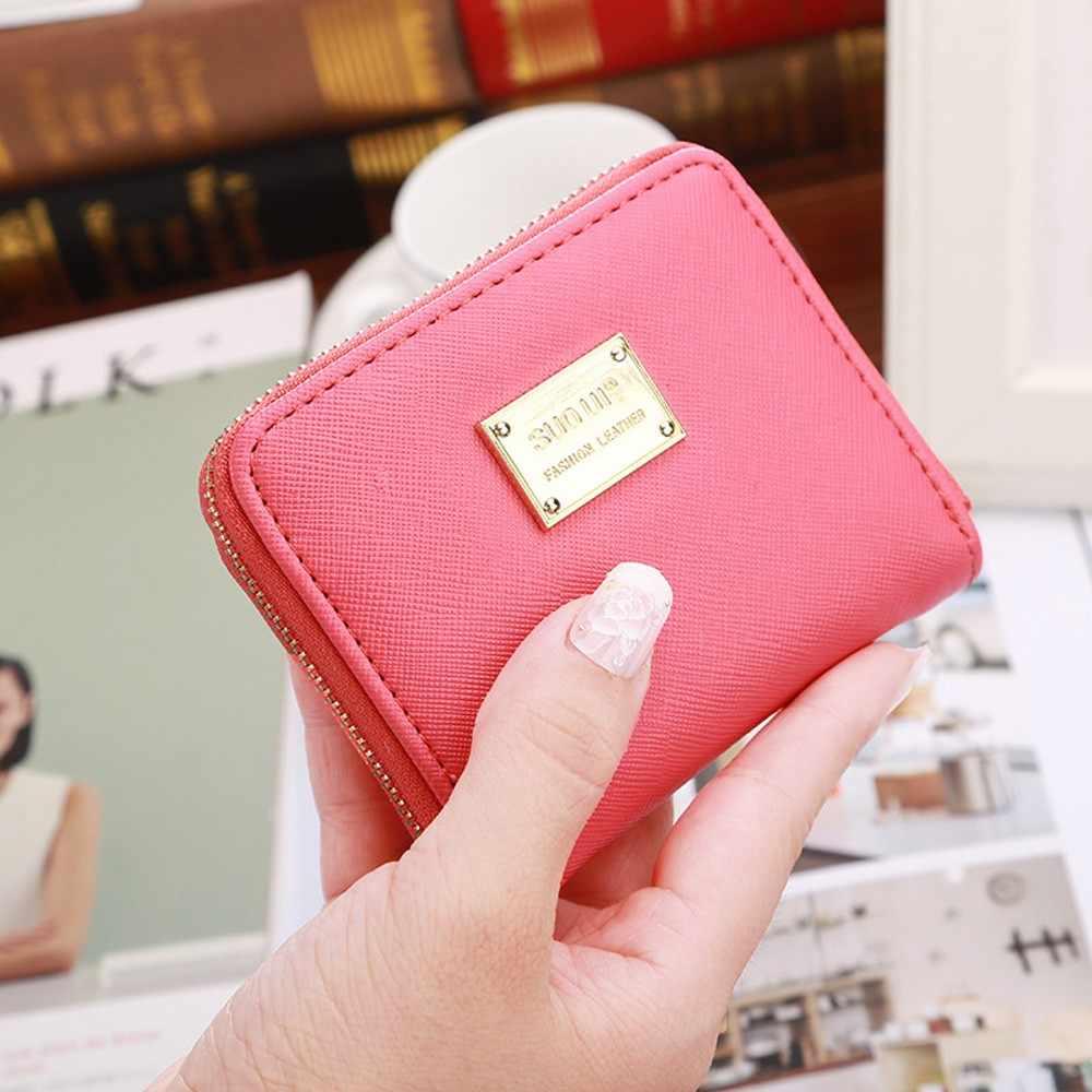 Femmes en cuir petit portefeuille porte-carte fermeture éclair porte-monnaie pochette sac à main Mini court imperméable à l'eau Durable Flod sac à main pochette Holderbag