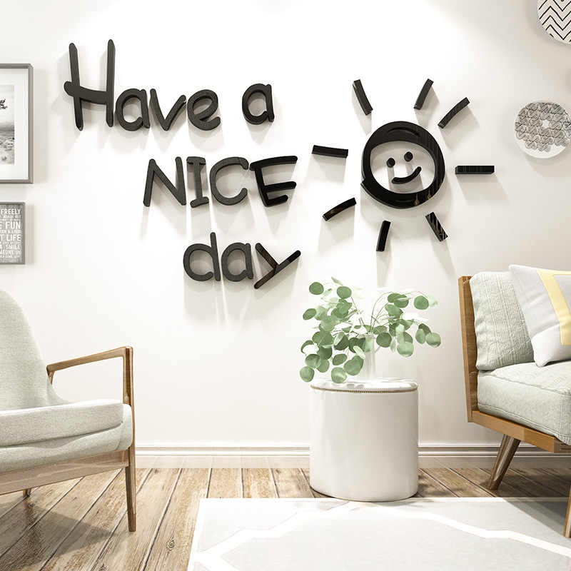 Bahan Gambar Anak Tk Ruang Tamu 3d Nice Day Acrylic Cermin Efek Sticker Diy Dinding Desain Untuk Ruang Tamu Anak Anak Tk Hiasan Dinding Wall Stickers Aliexpress