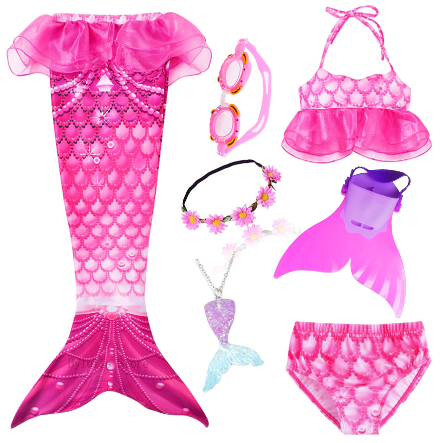 Kids Mermaid Tail With Monofin Swimmable Filpper Costume For Girls Children Cosplay Costumes Swimming Swimwear Mermaid Tail