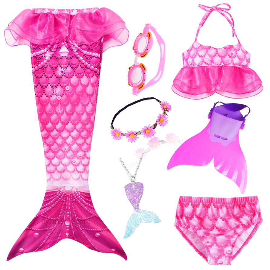 Kids Mermaid Tail With Monofin Swimmable Filpper Costume For Girls Children Cosplay Costumes Swimming Swimwear Mermaid Tail