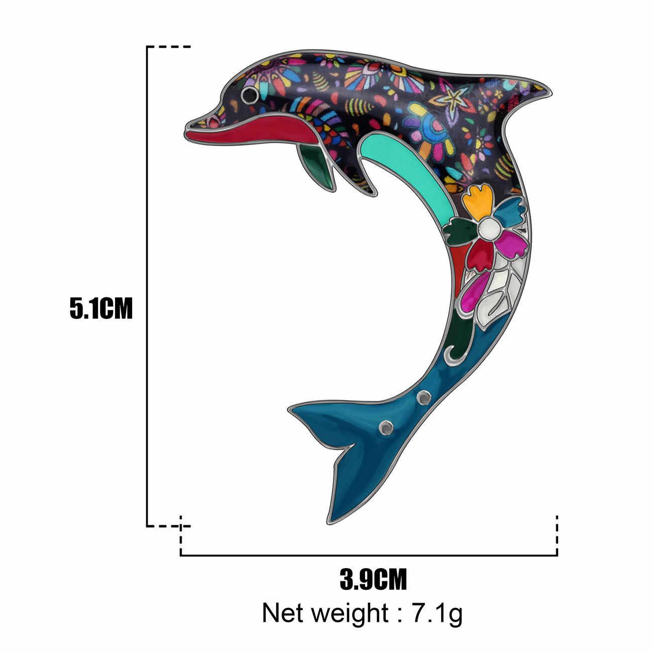 Bonsny Enamel Alloy Laut Lumba-lumba Bros Hewan Lucu Pin Perhiasan untuk Wanita Gadis Remaja Syal Pakaian Dekorasi Hadiah 2019 Baru