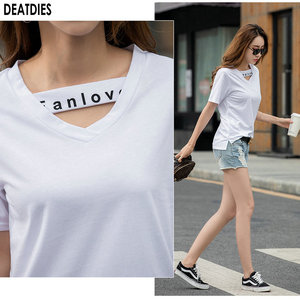 Image 5 - Letter Casual  T shirt Women Tshirt Cotton Vintage Plus Size Female T Shirt Women Tops V Neck Short Sleeve TShirts Femme 2020