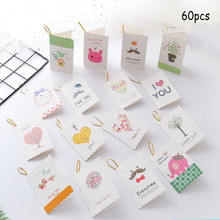 60pcs Creative 3D Greeting Card Send Teacher Childrens Birthday Invitation Mini-message Thank You
