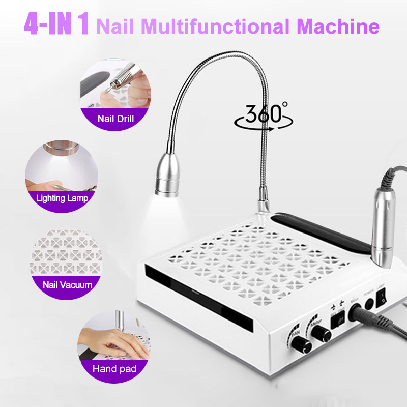 4-IN-1 80W Strong Power Nail Dust Collector Nail Drills Lighting Lamp Hand Pad Vacuum Cleaner Nail Art Salon Manicure Tools