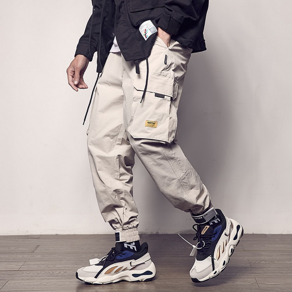 2020 Pockets Cargo Pants Men Color Patchwork Casual Jogger Fashion Tactical Trousers Tide Harajuku Streetwear