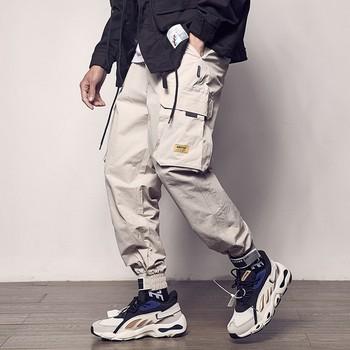 2020 kieszenie Cargo spodnie męskie kolorowy patchwork sportowa na co dzień moda spodnie taktyczne fala Harajuku Streetwear tanie i dobre opinie GUMPRUN Cargo pants Kostki długości spodnie Mieszkanie Luźne COTTON Pełnej długości Midweight Suknem Hip Hop Sznurek