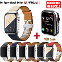 Skórzany pasek pojedynczo owinięty wokół ręki klamra do zegarka Apple 6 5 4 3 2 paski 44MM 40MM pasek do zegarka z Logo Herm do iWatch Accessoreis