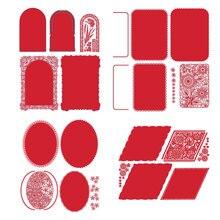 Elliptical Rectangular Flower Frame Metal Cutting Dies Scrapbooking Album Paper DIY Card decoration Craft Embossing Die Cuts