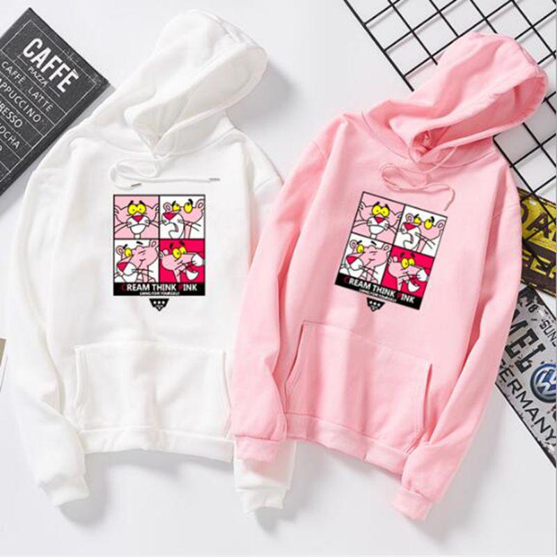 Qrxiaer Cartoon Pink Panther Hoodie Women Sweatshirt Four Grid Couple Shirt Children Gift Girl And Boy Friend Winter Autumn Coat