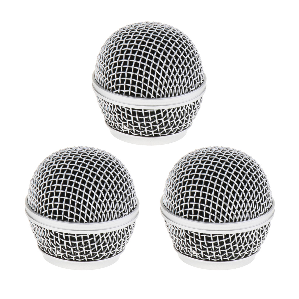 3pcs Steel Microphone Grille Mic Mesh Grill Ball Head Rust Resistant Replacement Ball Head Mic Mesh Cover Grill Head Mount