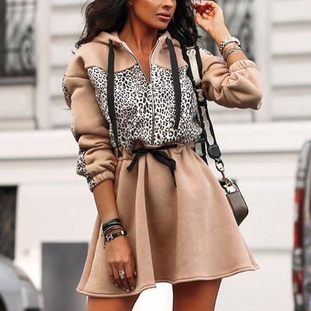 Casual Women Autumn Hoodie Dress Leopard Patchwork A-line Hooded Winter Dress 2019 Stylish Female Zipper Loose Dresses Robe D25