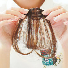 WTB Synthetic Hair Natural Short Air Front Bangs Hair Clip In Fringe Neat Black Brown Front Fake Bangs for Girls(China)