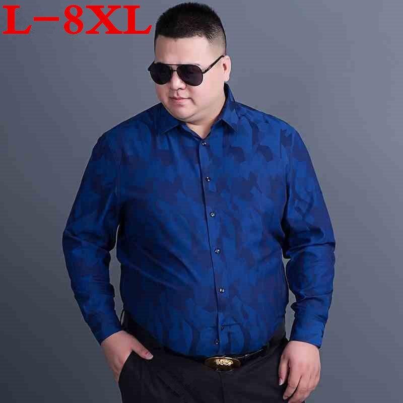 8XL PLUS SIZE Shirts Men  Promotion Autumn Long Sleeve Casual Cotton Flower Shirts For Men Designer Loose Fit Dress Shirts