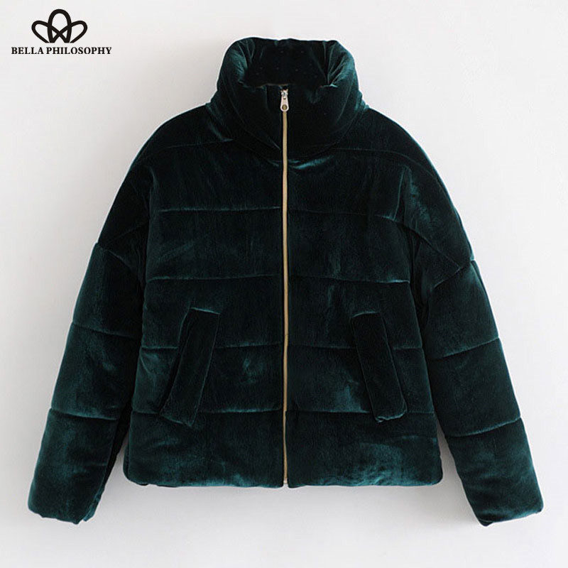 Bella Philosophy 2019 Winter Thick Worm Solid Faux Fur Women Coat Short Velvent   Parka   Padded Flannel Outwear Velour Jacket