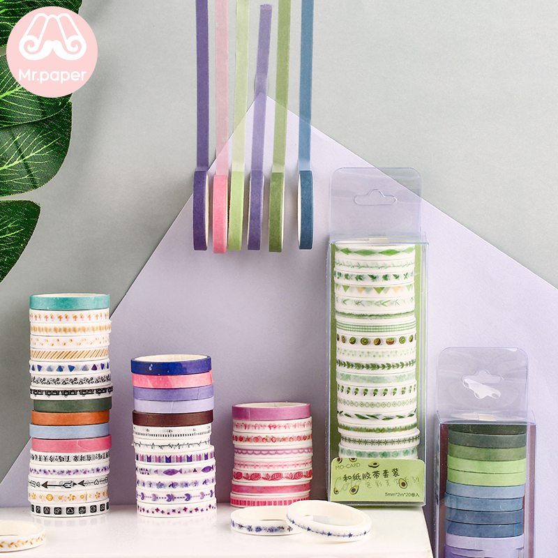 Mr.paper 5mm*2m 20Pcs Colorful Solid Washi Tape DIY Decoration Scrapbooking Planner Masking Tape Adhesive Tape Label Sticker