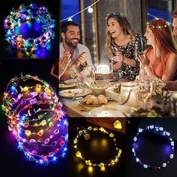 LED Glowing Women Girls Handmade Flower Head Wreath Tiara Headwear For Concert Party Supplies Random Color