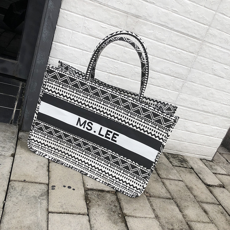 Women Tote Bag Striped High Quality Canvas Shoulder Bag Luxury Shopper Large Bag Bohemian National Style Handbag For Lady 2019